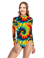 cheap -Women's New Vacation Sexy One Piece Swimsuit Color Block Tie Dye Tummy Control Print Bodysuit Normal High Neck Swimwear Bathing Suits Rainbow / Party