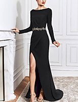 cheap -Mermaid / Trumpet Minimalist Elegant Engagement Formal Evening Dress Boat Neck Long Sleeve Sweep / Brush Train Stretch Fabric with Sash / Ribbon Split 2020