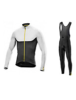 cheap -Men's Long Sleeve Cycling Jersey with Bib Tights Winter Elastane Black / White Bike Sports Clothing Apparel