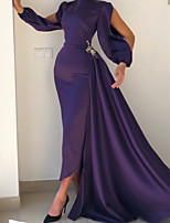 cheap -Sheath / Column Minimalist Elegant Wedding Guest Formal Evening Dress Jewel Neck Long Sleeve Sweep / Brush Train Satin with Pleats 2021
