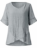 cheap -Women Fashion Irregular Half Sleeve Linen Solid Top Blouse Summer and Autumn Shirt Gray L