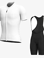 cheap -Men's Short Sleeve Cycling Jersey with Bib Shorts Elastane White Bike Sports Clothing Apparel