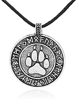 cheap -Vintage Necklace Ancient Viking Tunes Bear Claw Charm Antique Pendant Amulet Mens/Women Jewelry (Silver)
