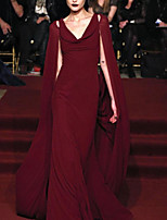 cheap -Mermaid / Trumpet Celebrity Style Elegant Engagement Prom Dress V Neck Sleeveless Floor Length Chiffon with Sleek 2021