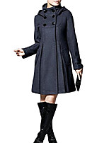 cheap -women's slim stand collar hooded double breasted mid long woolen coats (grey, medium)