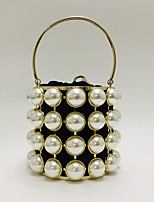 cheap -Women's Bags Alloy Top Handle Bag Pearls Chain Metal Finish Pearl 2021 Daily Going out Black Khaki