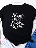 cheap -Women's T shirt Letter Print Round Neck Tops 100% Cotton Basic Basic Top Black Wine Army Green