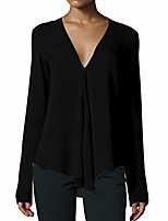 cheap -Womens Casual Deep V Neck Long Sleeve Office Work Chiffon Blouse OL Workwear Shirts Tops (Black, XXL)