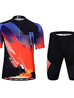 cheap -Men's Short Sleeve Cycling Jersey with Shorts Elastane Black / Red Bike Sports Clothing Apparel