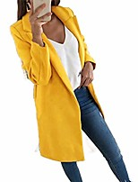 cheap -Women Solid Slim-Fit Lapel Winter Fall Outwear Classic Peacoat Yellow 5XL