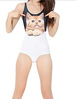 cheap -Women's New Fashion Lady Monokini Swimsuit Color Block Animal Tummy Control Open Back Slim Bodysuit Normal Strap Swimwear Bathing Suits White / One Piece / Party / Print