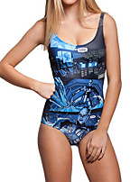 cheap -Women's New Fashion Lady Monokini Swimsuit Abstract Tummy Control Open Back Slim Bodysuit Normal Strap Swimwear Bathing Suits Blue / One Piece / Party / Print