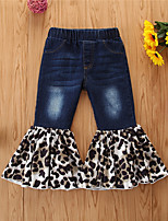 cheap -Kids Girls' Jeans Leopard Patchwork Basic Cute Blue