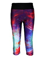 cheap -Women's High-Waisted Comfort Daily Gym Skinny Leggings Pants Galaxy Graphic Calf-Length Patchwork Print Purple