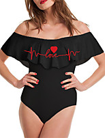 cheap -Women's New Vacation Fashion Monokini Swimsuit Letter Tummy Control Ruffle Print Bodysuit Normal Off Shoulder Swimwear Bathing Suits Red / One Piece / Party