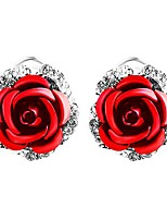 cheap -womens delicate rose flower rhinestone ear stud earrings red