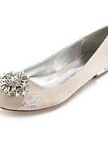 cheap -Women's Wedding Shoes Flat Heel Round Toe Classic Sweet Wedding Party & Evening Lace Rhinestone Crystal Solid Colored White Champagne Ivory