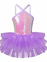 cheap -Kids Girls Shiny Sequins One Shoulder/Spaghetti Shoulder Straps Ballet Dance Gymnastics Leotard Tutu Dress Lavender 3