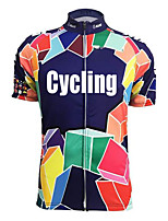 cheap -21Grams Men's Short Sleeve Cycling Jersey Dark Navy Bike Top Mountain Bike MTB Road Bike Cycling Breathable Sports Clothing Apparel / Stretchy / Athletic