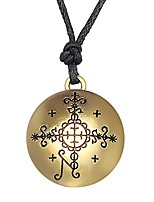 cheap -Talisman Amulet Voodoo Loa Veve Pendant Jewelry with Adjustable Rope Necklace (Antique Gold)