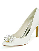 cheap -Women's Wedding Shoes Stiletto Heel Pointed Toe Sexy Wedding Party & Evening Satin Rhinestone Pearl Solid Colored White Black Purple