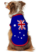 cheap -Dog Shirt / T-Shirt Vest Print Flag National Flag Fashion Cool Casual / Daily Outdoor Dog Clothes Puppy Clothes Dog Outfits Breathable Blue Costume for Girl and Boy Dog Polyster S M L XL