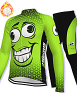 cheap -21Grams Men's Long Sleeve Cycling Jacket with Pants Winter Fleece Spandex Green Bike Fleece Lining Warm Sports Graphic Mountain Bike MTB Road Bike Cycling Clothing Apparel / Stretchy / Athleisure