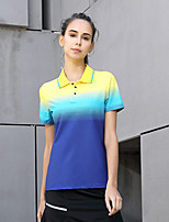 cheap -Women's Tennis Badminton Table Tennis Tee Tshirt Short Sleeve Breathable Quick Dry Moisture Wicking Sports Outdoor Autumn / Fall Spring Summer Color Gradient Blue / High Elasticity