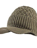 cheap -Winter Men Hat and Scarf Warm Knit Cap and Scarf Outdoor Khaki