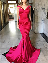 cheap -Mermaid / Trumpet Vintage Sexy Engagement Formal Evening Dress V Neck Sleeveless Court Train Satin with Sleek Ruched 2021