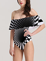 cheap -Women's New Neutral Vacation Monokini Swimsuit Abstract 3D Tummy Control Ruffle Print Bodysuit Normal Off Shoulder Swimwear Bathing Suits Black / One Piece / Party
