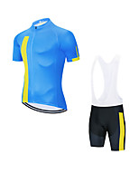 cheap -Men's Short Sleeve Cycling Jersey with Bib Shorts Cycling Jersey with Shorts Elastane Blue Sky Blue Bike Sports Clothing Apparel