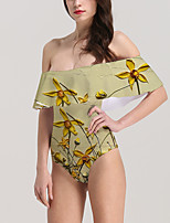 cheap -Women's New Vacation Fashion Monokini Swimsuit Floral 3D Tummy Control Ruffle Print Bodysuit Normal Off Shoulder Swimwear Bathing Suits Yellow / One Piece / Party