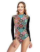 cheap -Women's New Vacation Sexy One Piece Swimsuit Tribal Floral Tummy Control Print Bodysuit Normal High Neck Swimwear Bathing Suits Green / Party