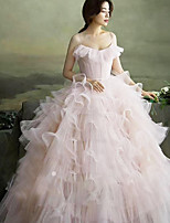 cheap -Ball Gown Elegant Vintage Quinceanera Prom Dress Spaghetti Strap Sleeveless Floor Length Tulle with Ruffles 2020