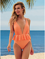 cheap -Women's New Elegant Sexy Monokini Swimsuit Solid Color Tummy Control Ruffle Open Back Normal Plunge Swimwear Bathing Suits Blushing Pink / One Piece / Party