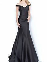 cheap -Sheath / Column Minimalist Sexy Engagement Formal Evening Dress Off Shoulder Sleeveless Floor Length Satin with Pleats 2021