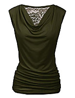 cheap -Womens Ruched Cowl Neck Lace Patchwork Tank Tops Sleeveless Stretch Blouse with Side Shirring Army Green