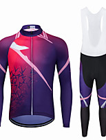 cheap -Men's Long Sleeve Cycling Jersey with Bib Tights Winter Elastane Fuchsia Bike Sports Clothing Apparel