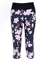 cheap -Women's Basic High-Waisted Comfort Daily Gym Skinny Leggings Pants Floral Calf-Length Pocket Patchwork Print Dark Blue