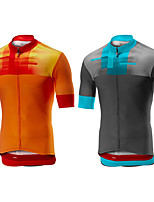 cheap -Men's Short Sleeve Cycling Jersey Dark Gray Orange Bike Top Mountain Bike MTB Road Bike Cycling Breathable Sports Clothing Apparel / Stretchy / Athletic