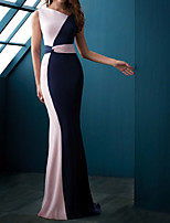 cheap -Mermaid / Trumpet Color Block Elegant Wedding Guest Formal Evening Dress Jewel Neck Sleeveless Sweep / Brush Train Chiffon with Sleek 2021