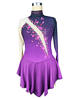 cheap -Figure Skating Dress Women's Girls' Ice Skating Dress Purple Spandex High Elasticity Training Competition Skating Wear Patchwork Crystal / Rhinestone Long Sleeve Ice Skating Figure Skating / Kids