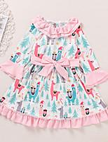 cheap -Kids Toddler Little Girls' Dress Deer Animal Bow Print Blushing Pink Long Sleeve Active Dresses Summer Regular Fit 2-6 Years