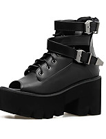 cheap -Women's Boots Chunky Heel Peep Toe Booties Ankle Boots Sweet Daily PU Solid Colored Black / Booties / Ankle Boots