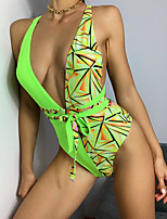 cheap -Women's New Sexy Party Monokini Swimsuit Color Block Geometric Lace up Push Up Wrap Padded Normal Plunge Swimwear Bathing Suits Light Green / Bikini / One Piece / Cross