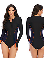 cheap -Women's Rash Guard Dive Skin Suit One Piece Swimsuit Elastane Swimwear Breathable Quick Dry Long Sleeve Front Zip - Swimming Surfing Water Sports Patchwork Autumn / Fall Spring Summer