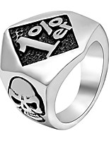 cheap -Men's Skull Stainless Steel Rings 1% er One Percenter Outlaw Biker Ring Motorcycle Club US 7-15 Birthday Father's day Gift Silver Size 8