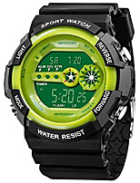 cheap -Digital Watch Plastic Band Multifunctional Waterproof LED 12/24 Hour Sport Electronic Wristwatch (Green)