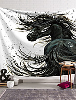cheap -Wall Tapestry Art Deco Blanket Curtain Hanging Home Bedroom Living Room Dormitory Decoration Polyester Fiber Animal Black Horse